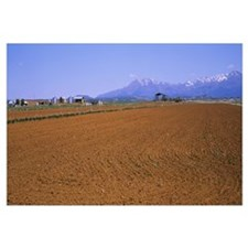 Plowed field with mountains in the background, Bla