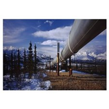 Pipeline passing through a snow covered landscape,