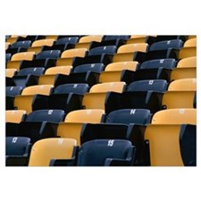 Empty row of seats in sports stadium