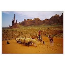 Shepherd herding a flock of sheep, Monument Valley