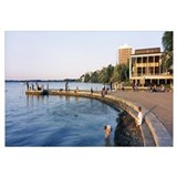 Group of people at a waterfront, Lake Mendota, Uni