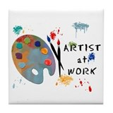 Artist At Work Tile Coaster