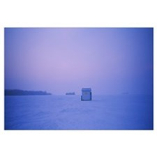 Ice fishing shack on a frozen lake, Lake Of The Wo