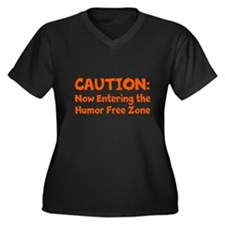 Humor Free Zone Women's Plus Size V-Neck Dark T-Sh