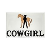 cowgirl & horse Rectangle Magnet (100 pack)