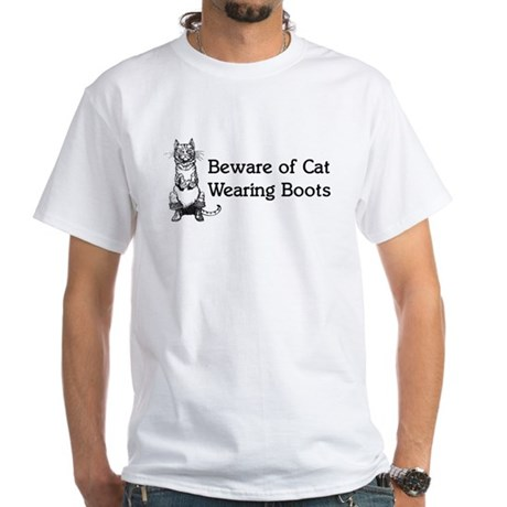 WH Robinson's Beware Cat White T-Shirt