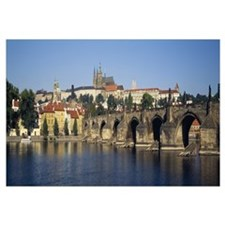 Arch bridge across a river, Charles Bridge, Vltava