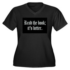 Cool Reader Women's Plus Size V-Neck Dark T-Shirt