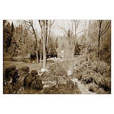 Gazebo in a forest near a pond