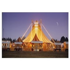 Circus lit up at dusk, Circus Narodni Tent, Prague