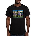St. Francis/ St. Bernard Men's Fitted T-Shirt (dar