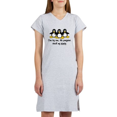 One by one, the penguins.. Women's Nightshirt