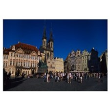 Group of people at a town square, Prague Old Town