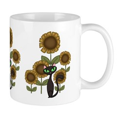 Sunflower Black Cat Mug