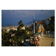 High angle view of a city, Parc Guell, Barcelona,