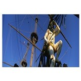 Low angle view of a statue on a ships bow, Genoa,