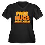 Free Hugs Women's Plus Size V-Neck Dark T-Shirt