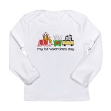 1st Valentines Day Train Long Sleeve Infant T-Shir