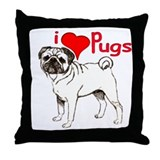 pug love Throw Pillow