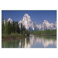 Reflection of a mountain range in water, Oxbow Ben