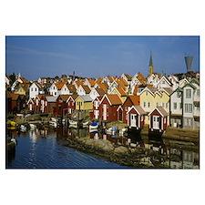 High Angle View Of A Town, Smogen, Bohuslan, Swede