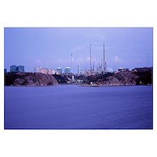 Oil refinery at the coast, Lysekil, Bohuslan, Swed
