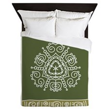 Green Tribal Queen Duvet