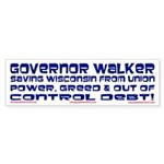 Governor Walker Saving Wisconsin! Sticker (Bumper)