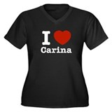 I love Carina Women's Plus Size V-Neck Dark T-Shir