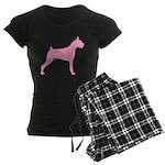Pink Boxer Dog Women's Dark Pajamas