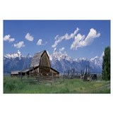 Old barn and Teton Range Grand Teton National Park