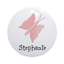 Pink Butterfly Design Ornament (Round)