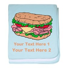 Sandwich. Custom Text. baby blanket