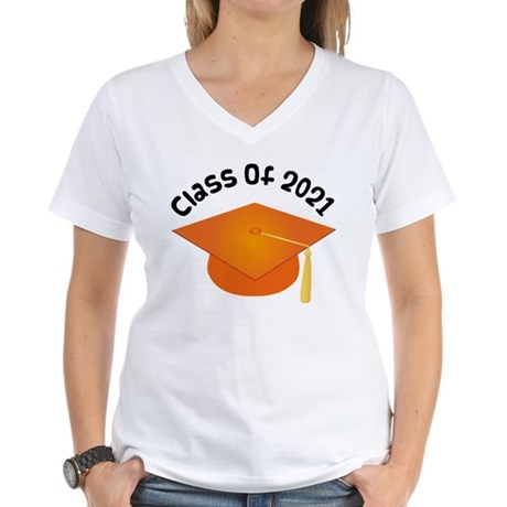 Class of 2021 (Orange) Women's V-Neck T-Shirt