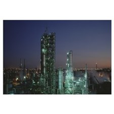 Oil refinery illuminated at night, Los Angeles, Ca