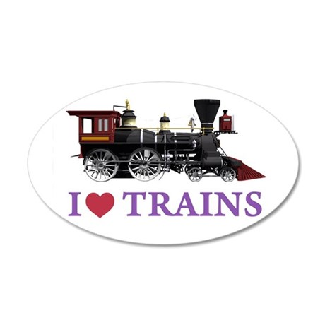 I LOVE TRAINS 35x21 Oval Wall Decal