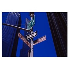 Low angle view of a street name sign, Columbus Cir