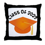 Class of 2029 (Orange) Throw Pillow