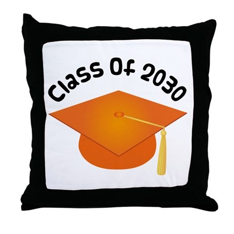 Class of 2030 (Orange) Throw Pillow