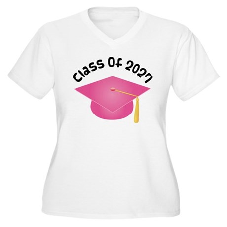 Class of 2027 (Pink) Women's Plus Size V-Neck T-Sh