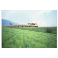 TGV High-speed Train passing through a grassland