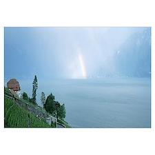 Rainbow vineyards and Lake Geneva Vaud Switzerland