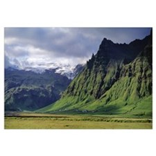 Iceland, South Coast, Sheer Basalt Cliffs, View of