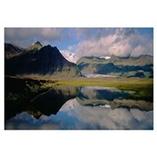 Iceland, Skaftafell National Park, Reflection of m
