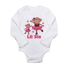 Little Sister Monkey Long Sleeve Infant Bodysuit