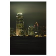 Low angle view of buildings lit up at night, Inter
