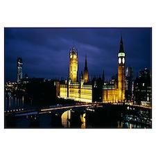 Buildings lit up at night, Westminster Bridge, Big