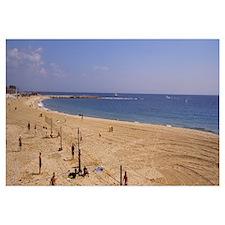 Tourists on the beach, Port Olimpic, Barcelona, Ca