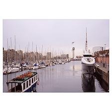 Boats at a harbor, Port Vell, Barcelona, Catalonia