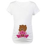 Breast Cancer Teddy Bear Maternity T-Shirt